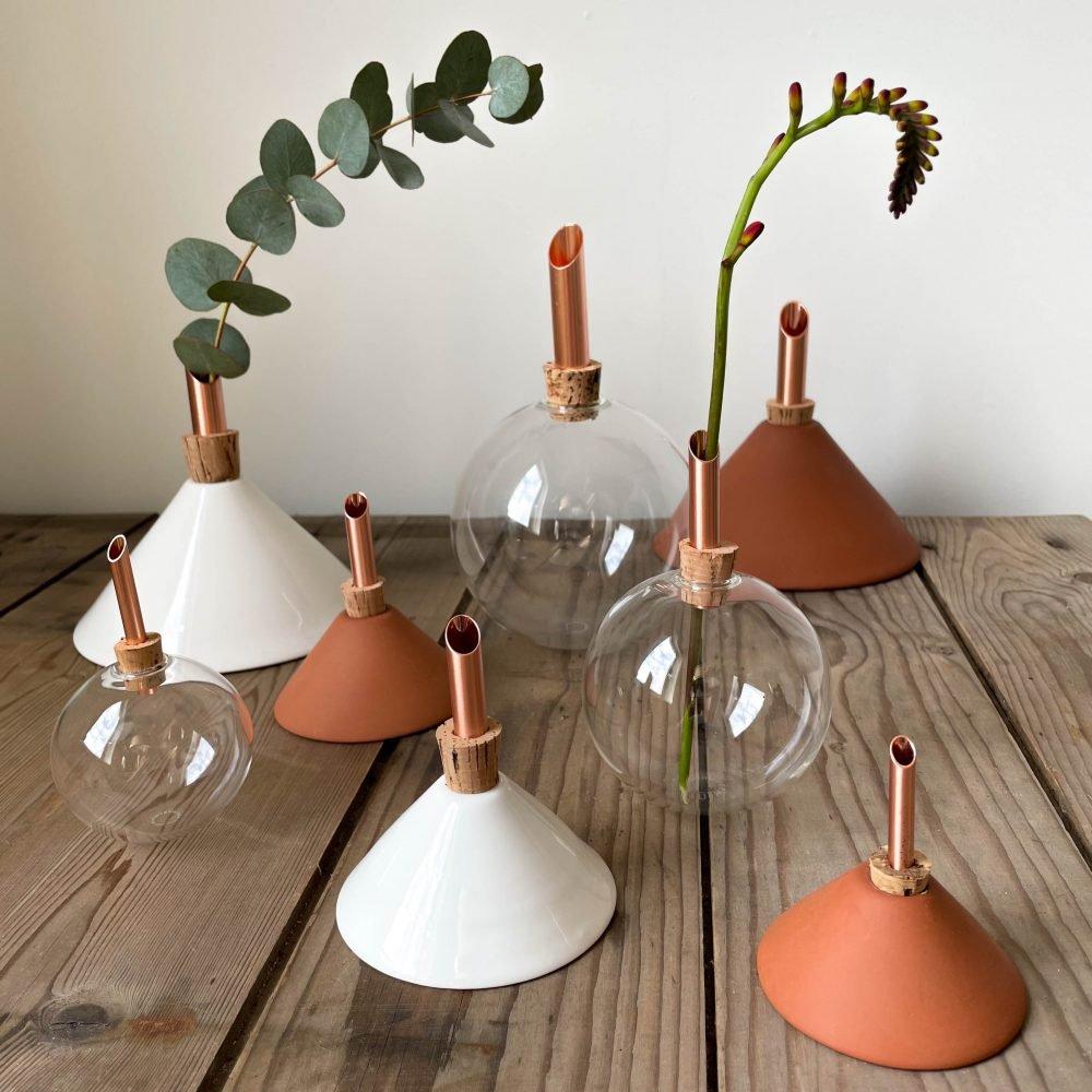 vaasjes scandinaviaform wit terracotta glas